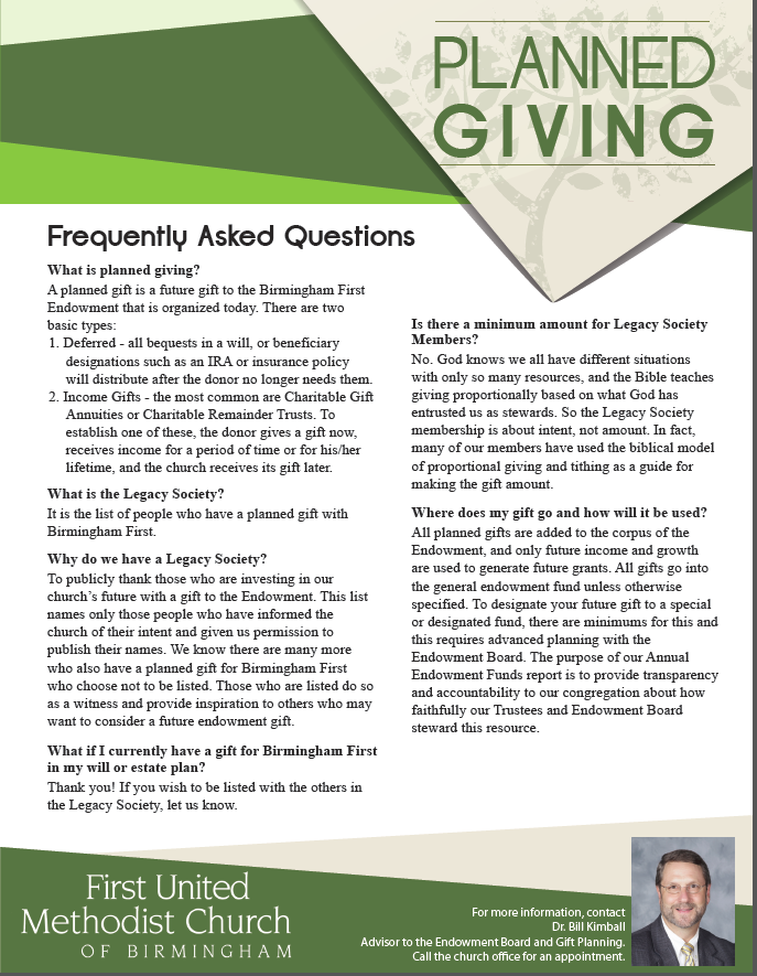 Planned Giving Frequently Asked Questions